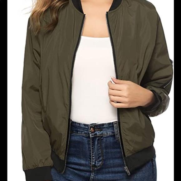 Zara Basic green light bomber jacket